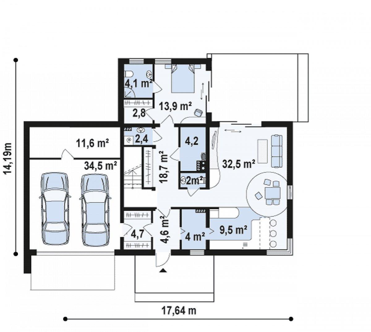 Первый этаж 102,7(149,0м²) дома Zx46 GL2