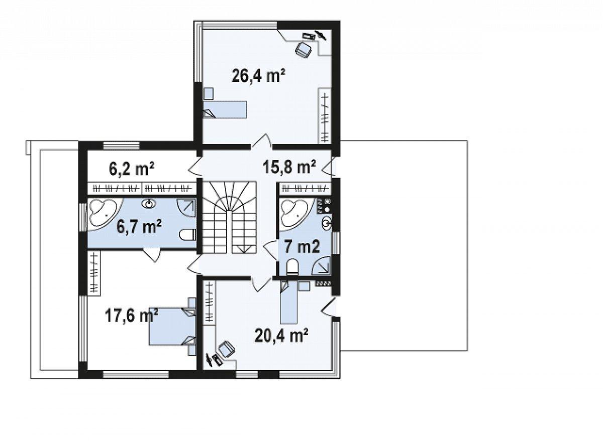 Второй этаж 101,2м² дома Zx46 GL2