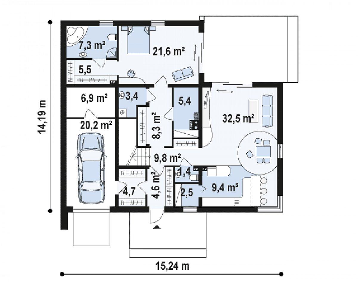 Первый этаж 116,3(143,4м²) дома Zx46