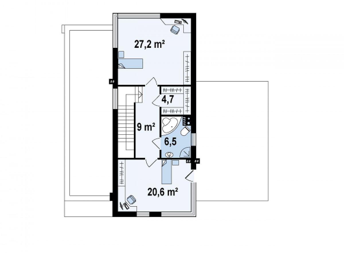 Второй этаж 68,0м² дома Zx46