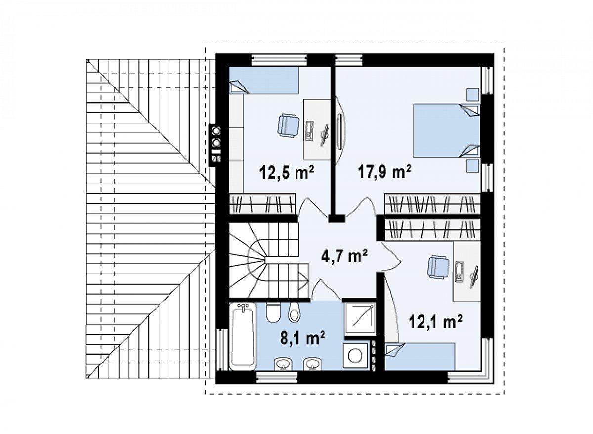 Второй этаж 55,4м² дома Zx47