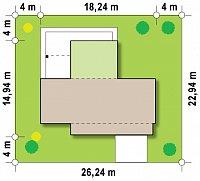 Минимальные размеры участка для проекта Zx48