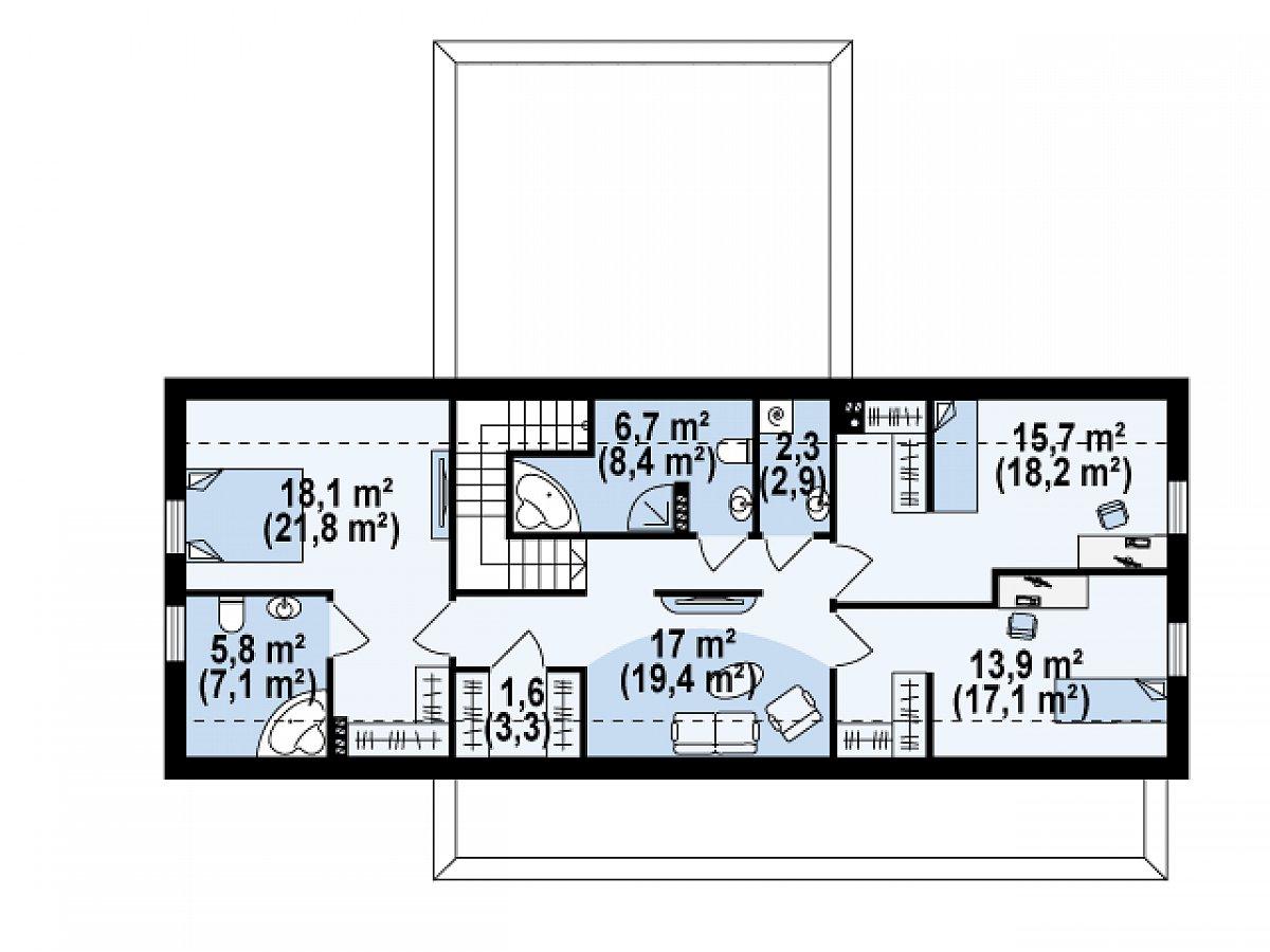 Второй этаж 81,7(99,0м²) дома Zx48