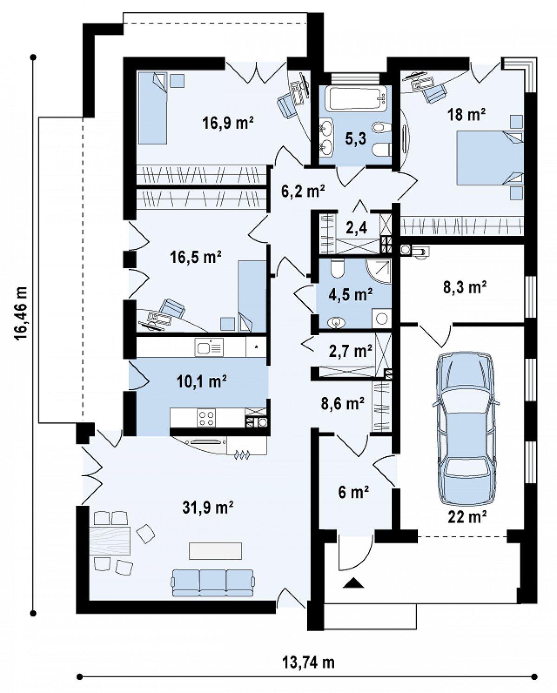 Первый этаж 129,2(159,4м²) дома Zx49