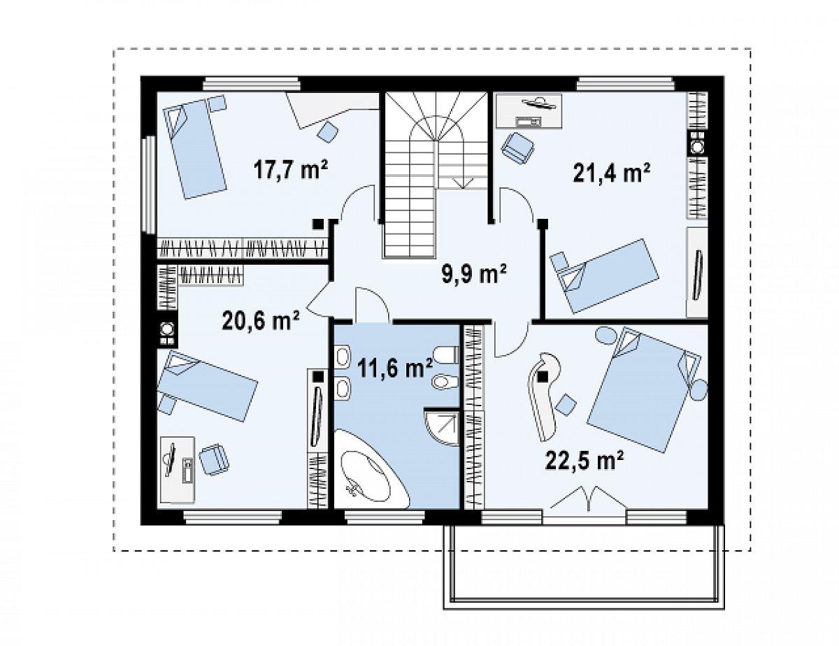 Второй этаж 103,7м² дома Zx4