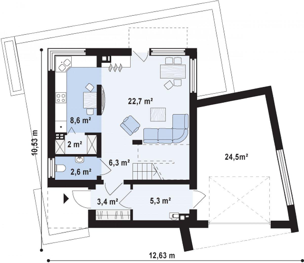 Первый этаж 50,9(75,3м²) дома Zx51 GP