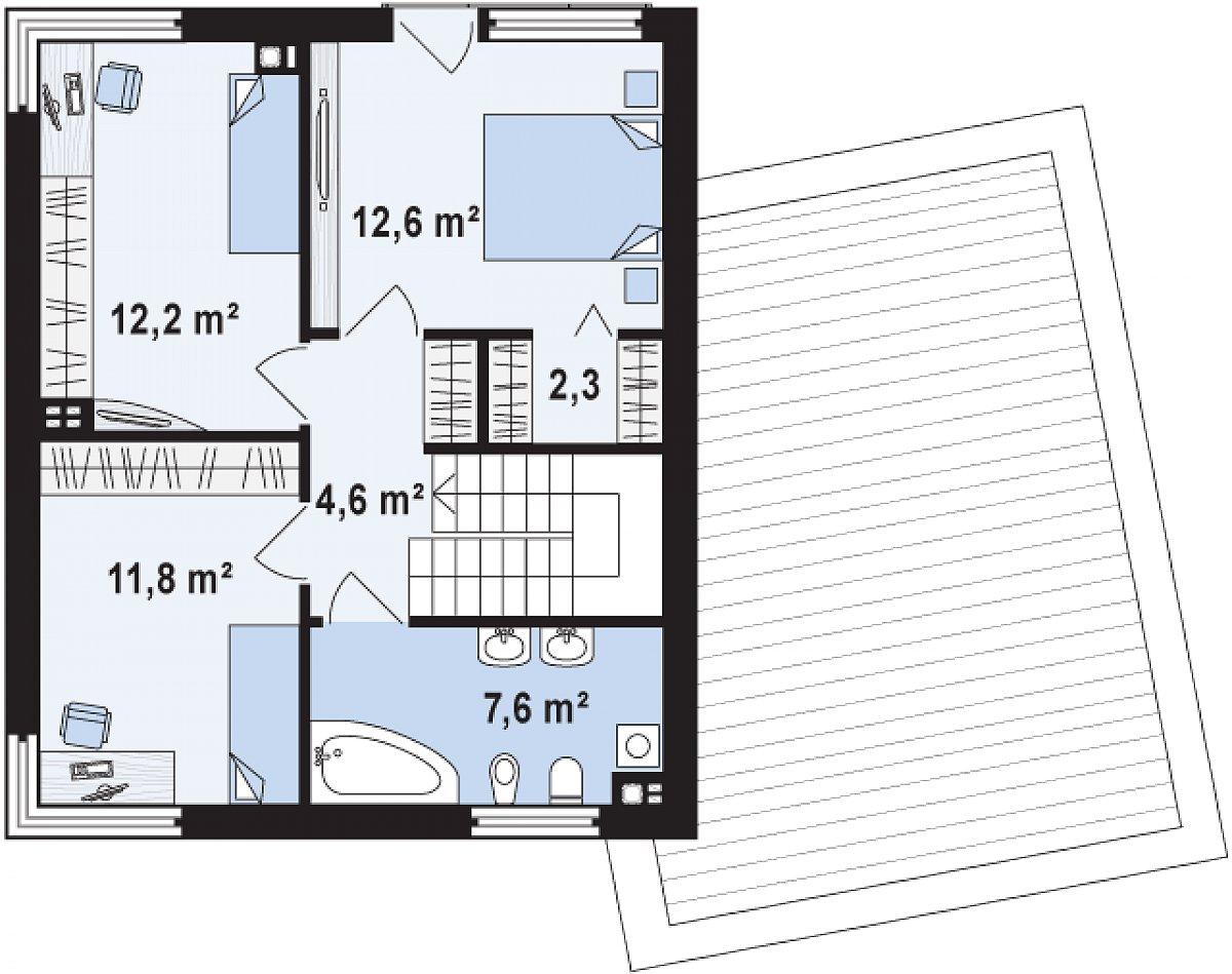 Второй этаж 51,1м² дома Zx51 GP
