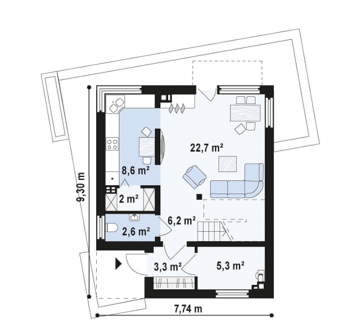 Первый этаж 50,9м² дома Zx51