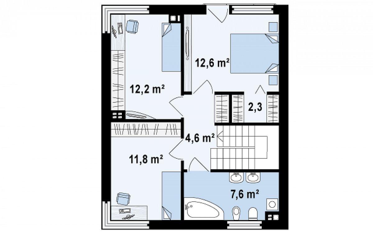 Второй этаж 51,1м² дома Zx51