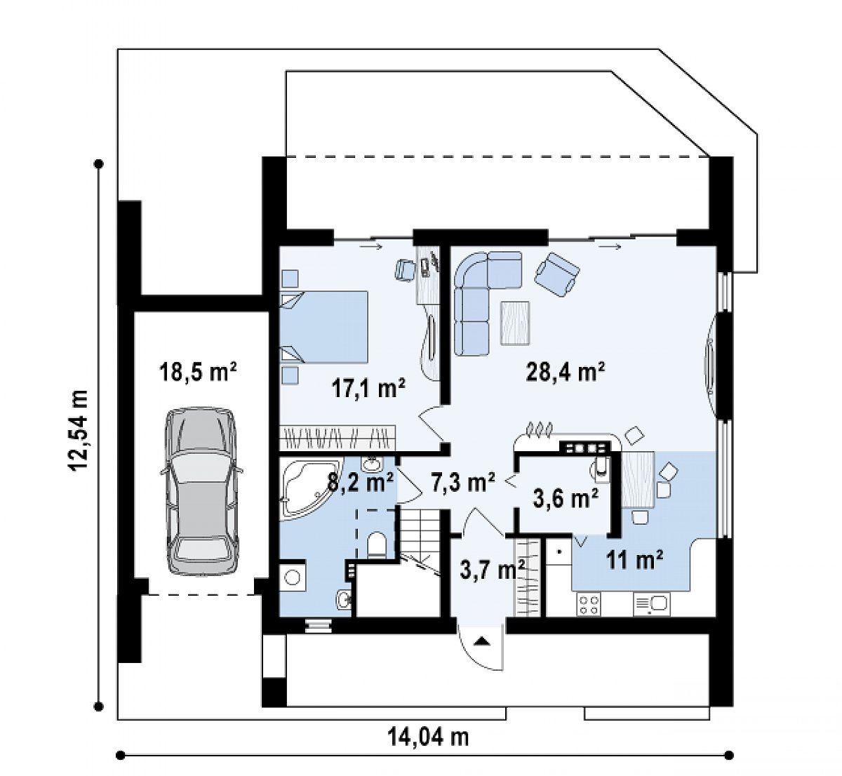 Первый этаж 79,4(97,9м²) дома Zx55