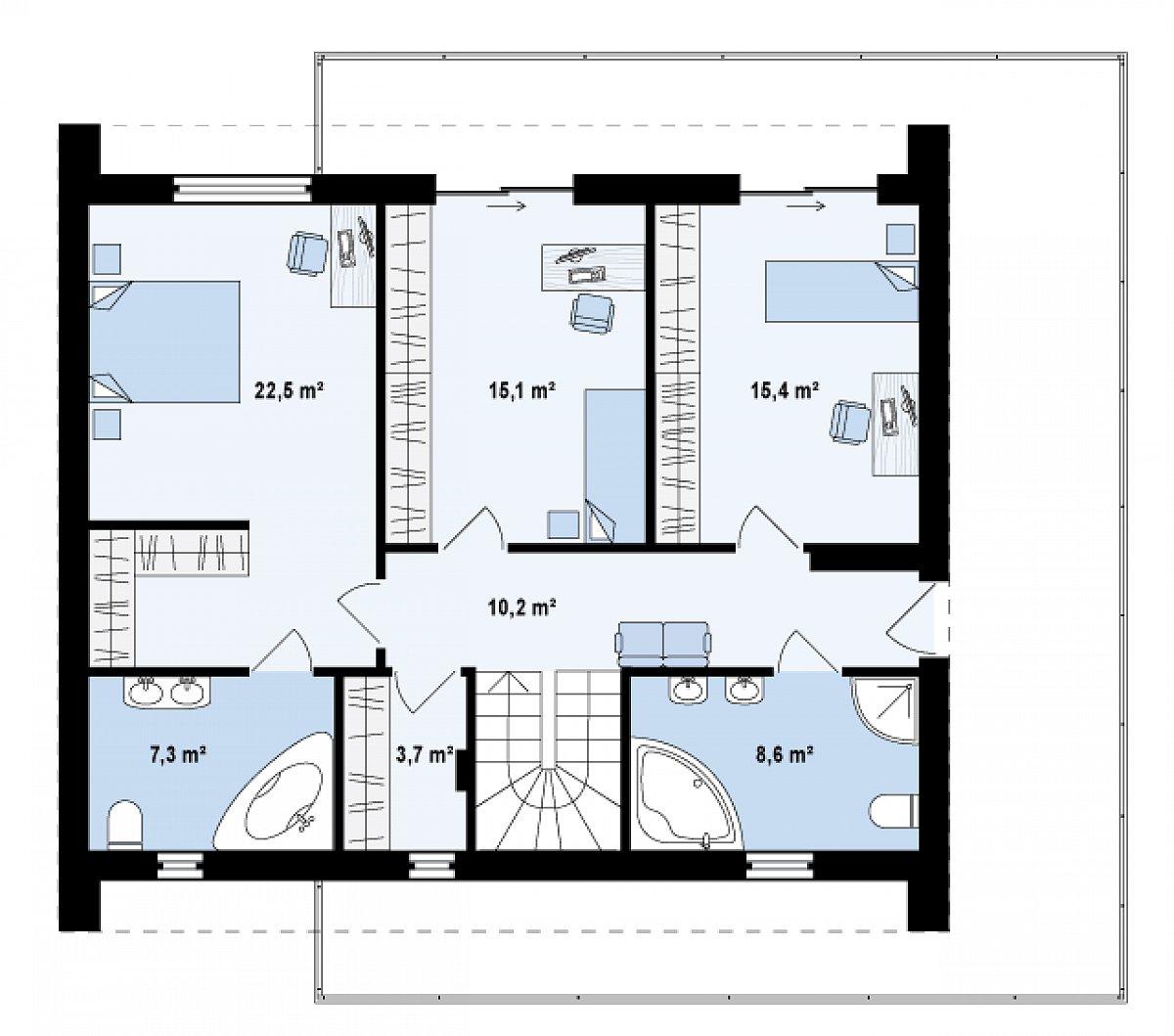 Второй этаж 82,8м² дома Zx55