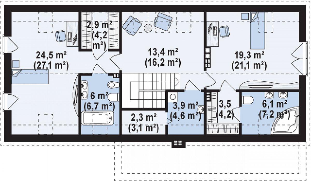 Второй этаж 82,0(94,4м²) дома Zx58