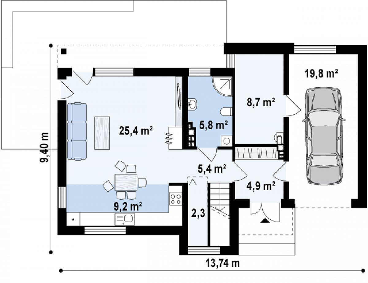 Первый этаж 61,8(81,6м²) дома Zx59