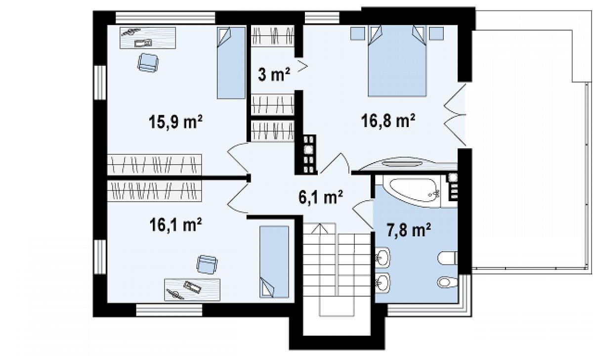 Второй этаж 65,7м² дома Zx59