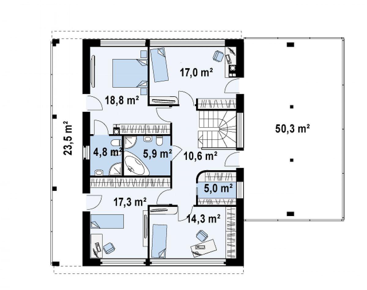 Второй этаж 93,7м² дома Zx5