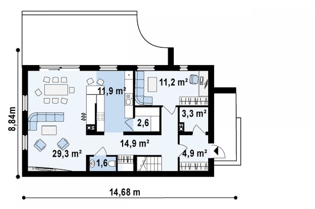 Первый этаж 79,7м² дома Zx60 BG