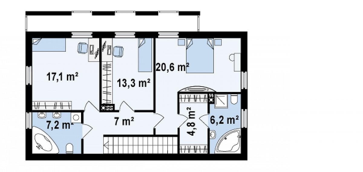 Второй этаж 76,1м² дома Zx60 BG