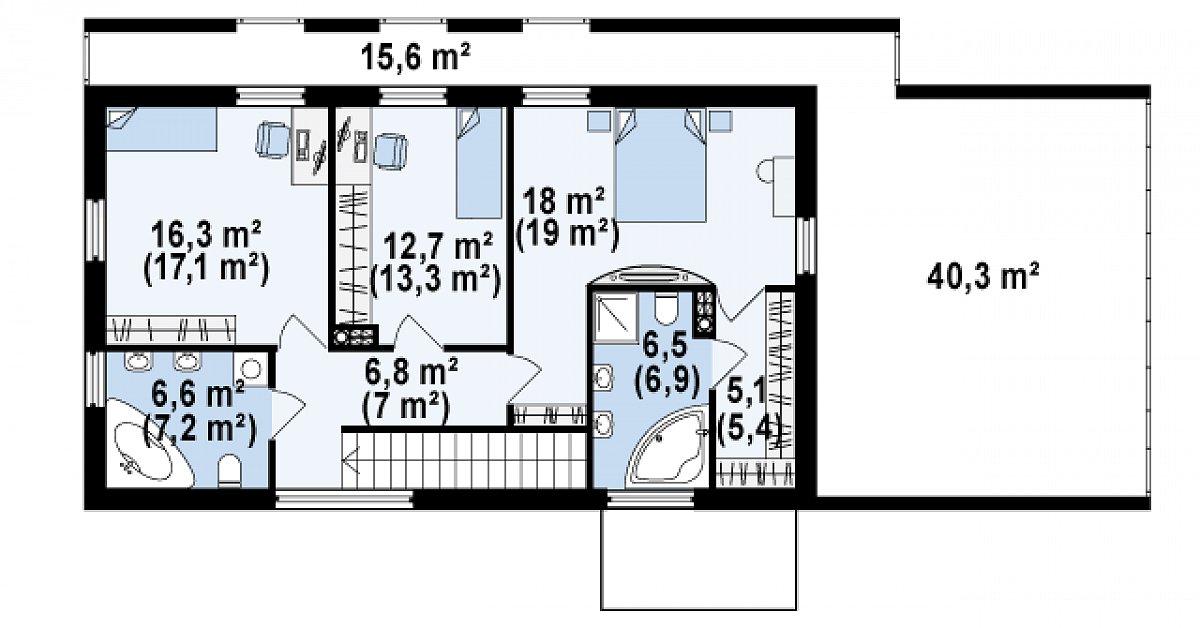 Второй этаж 72,2(75,9м²) дома Zx60