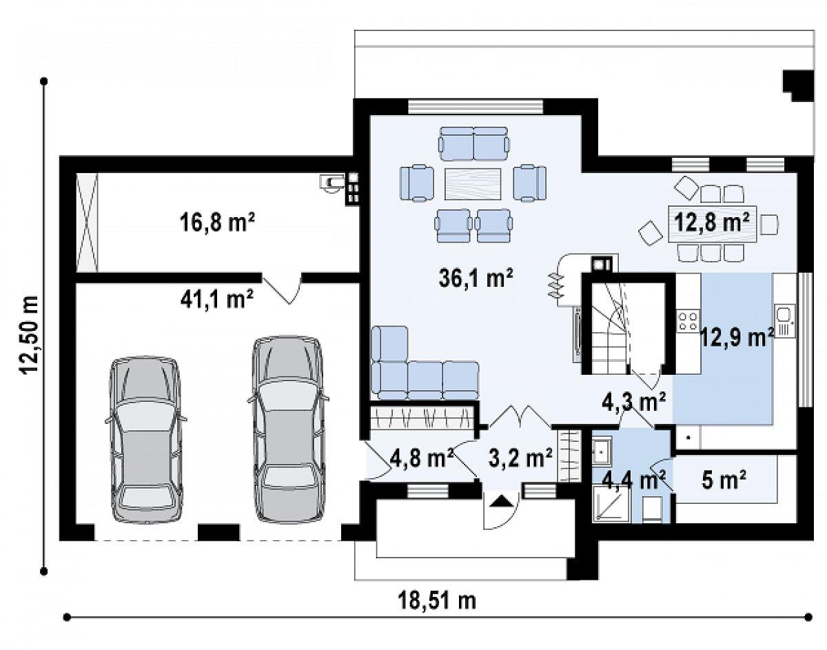 Первый этаж 77,7(135,5м²) дома Zx61