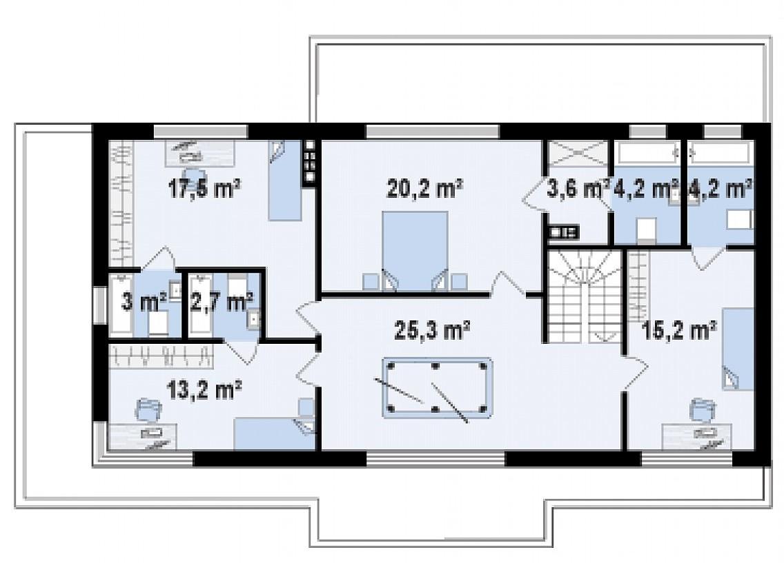 Второй этаж 109,2м² дома Zx61