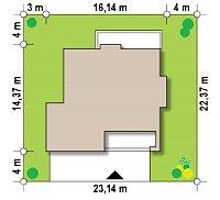 Минимальные размеры участка для проекта Zx62