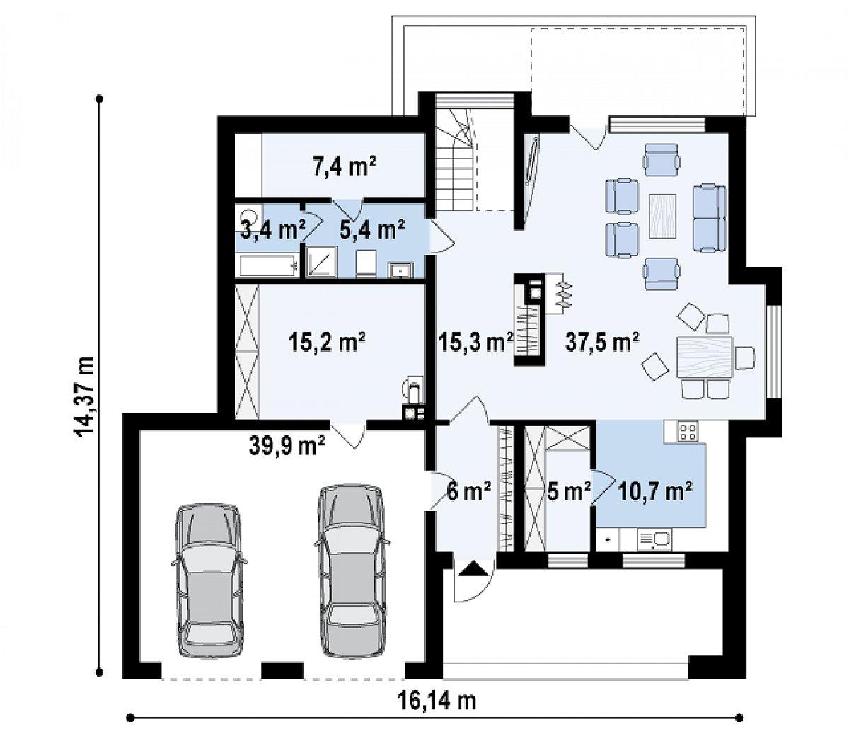 Первый этаж 85,7(140,8м²) дома Zx62
