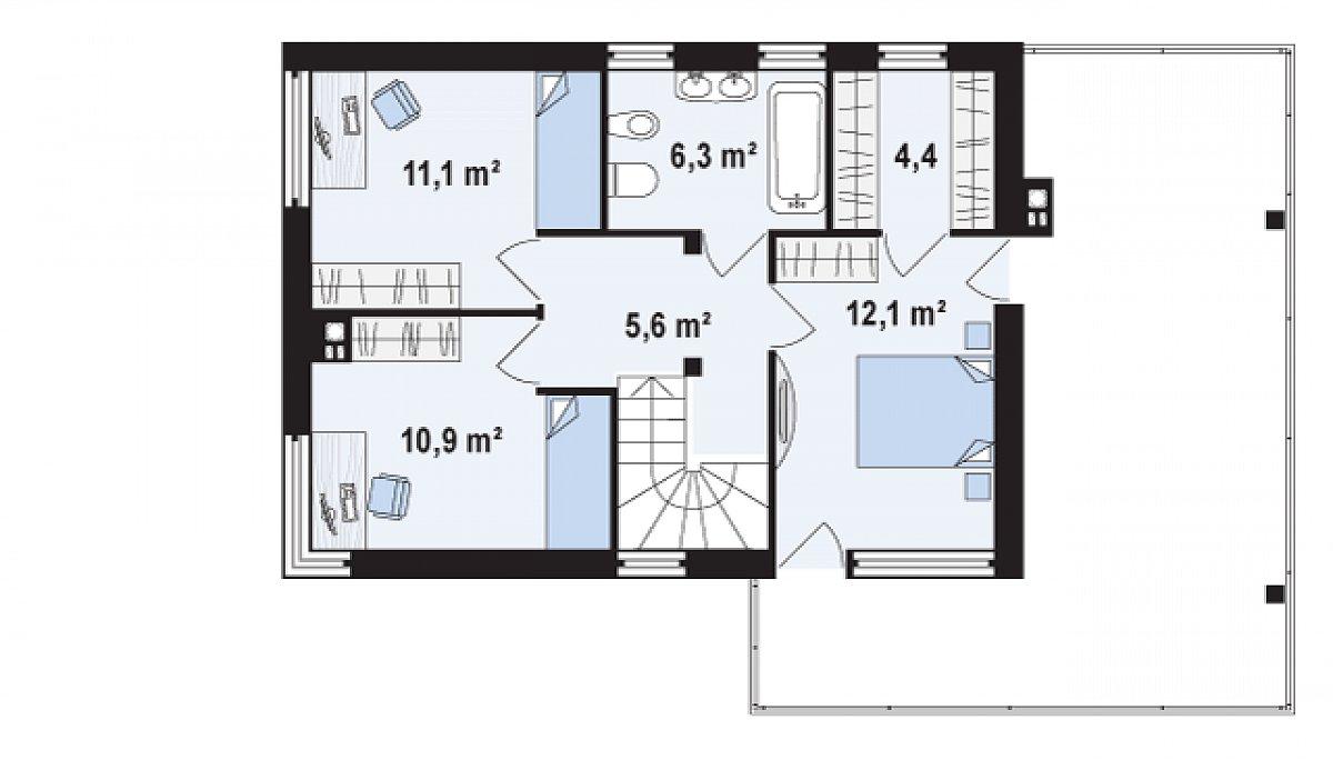 Второй этаж 46,0 м² дома Zx63 A