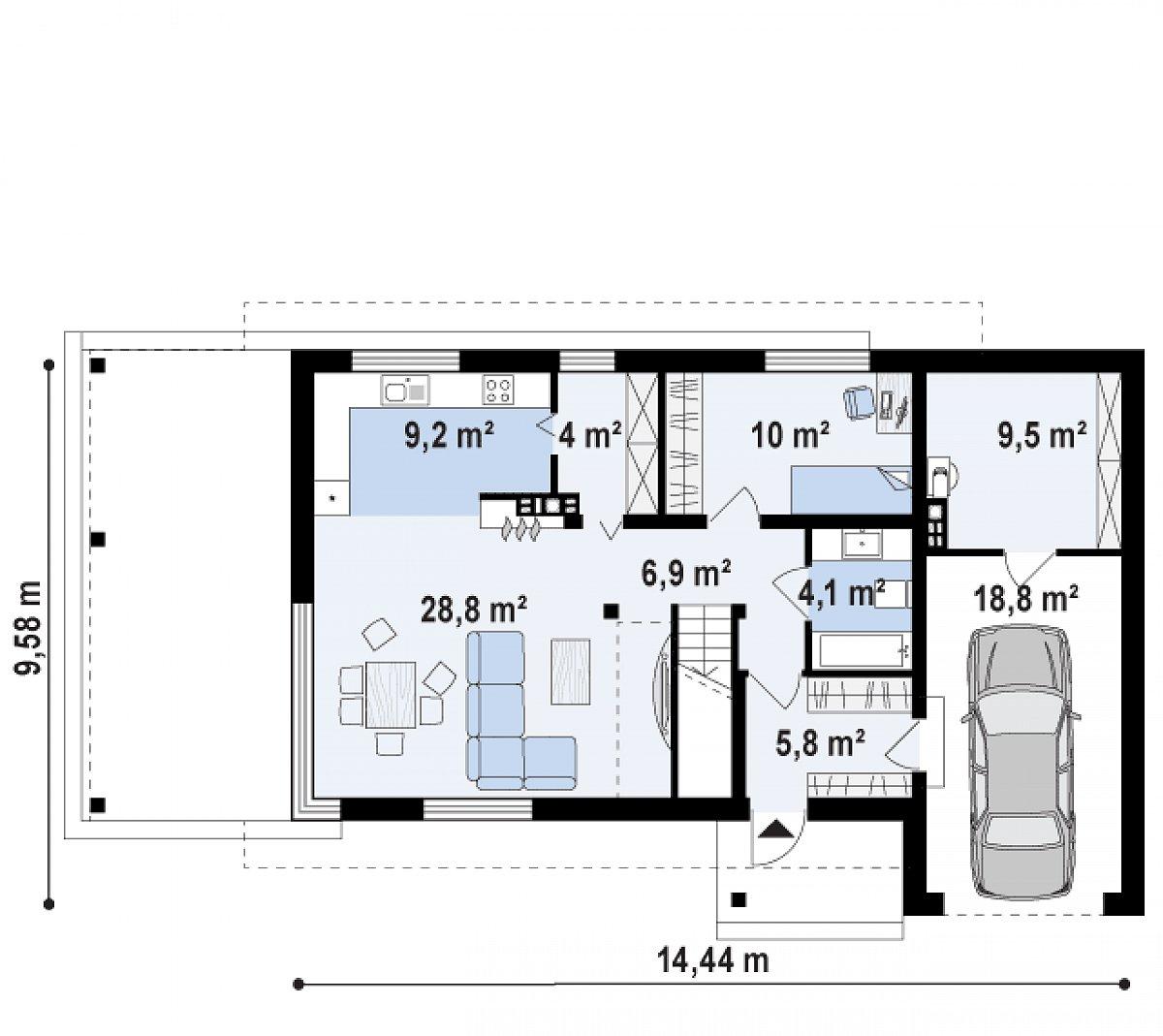 Первый этаж 68,7(97,1м²) дома Zx63 B +