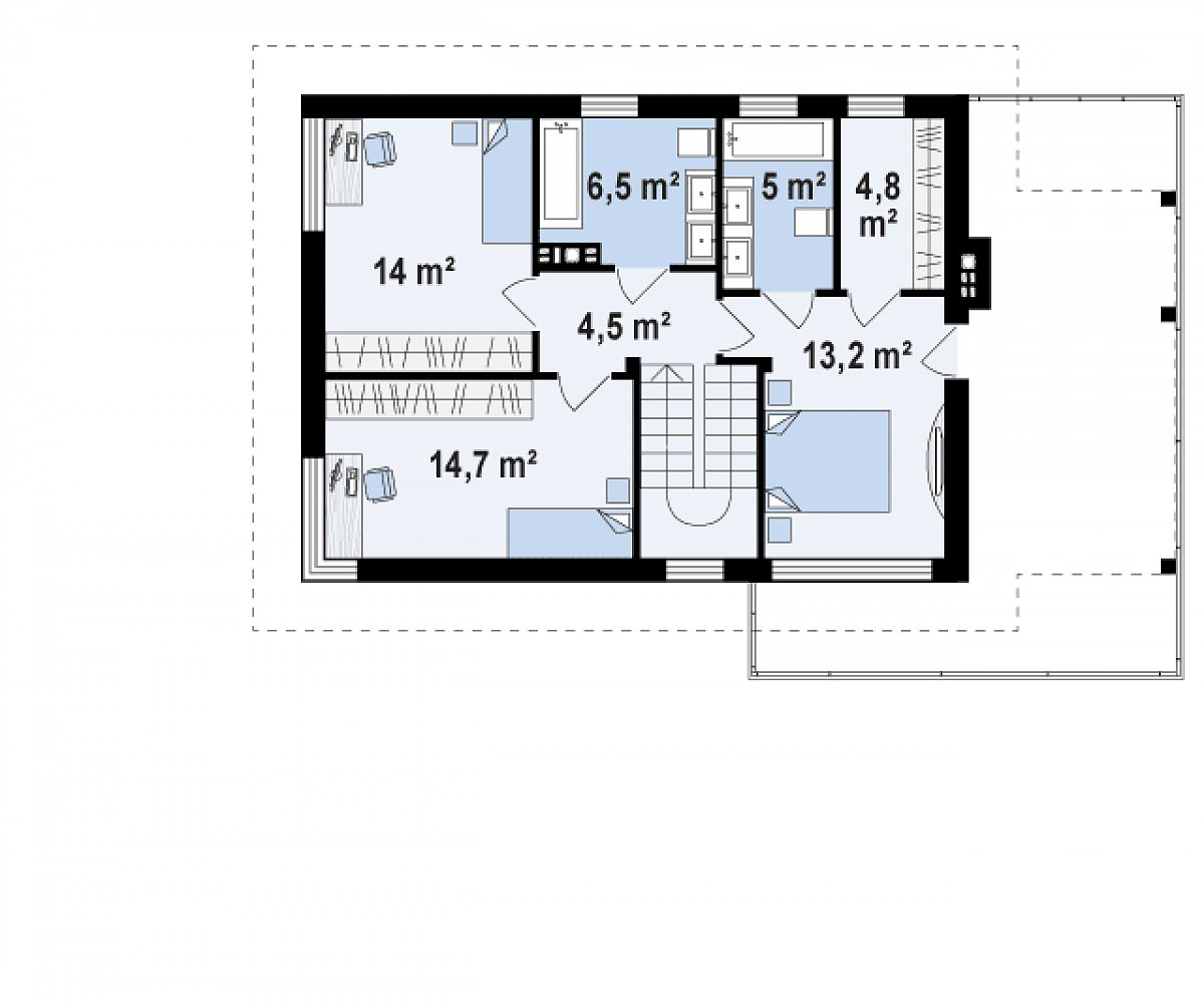 Второй этаж 62,8м² дома Zx63 B +