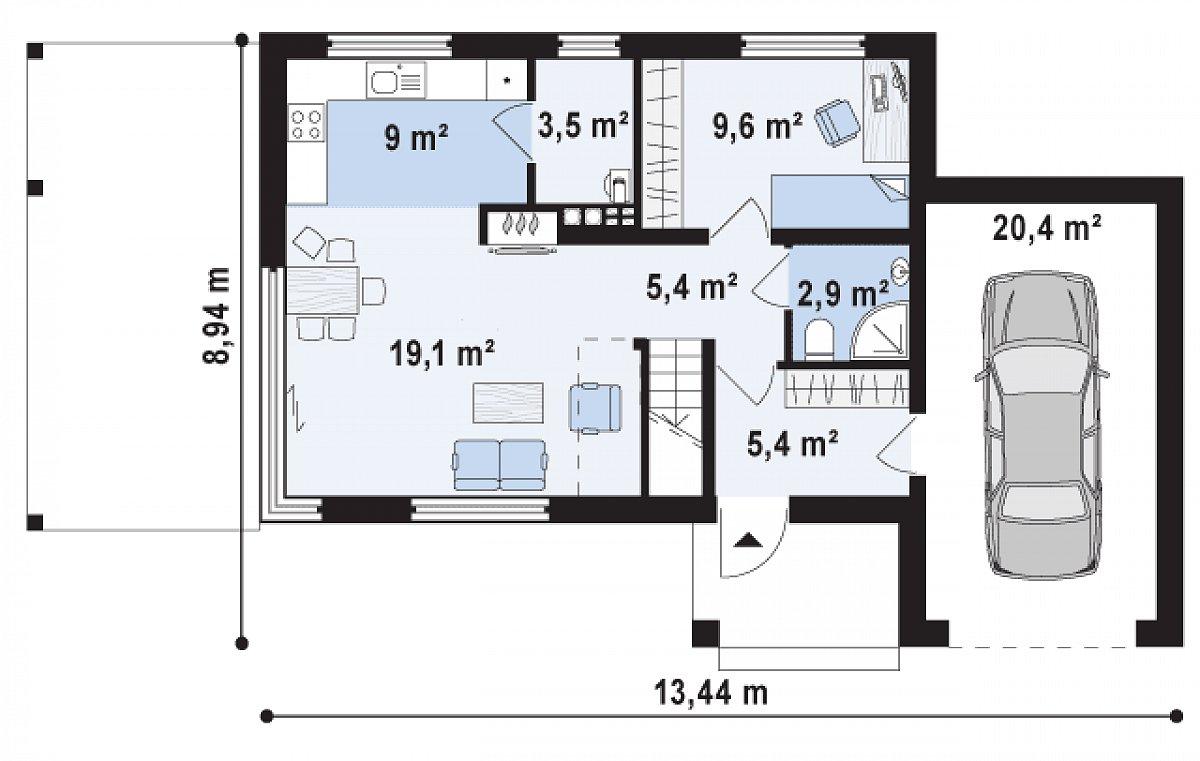 Первый этаж 54,1(74,4м²) дома Zx63 B