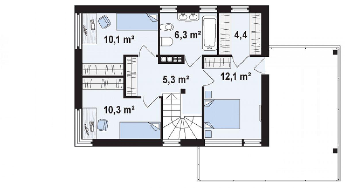 Второй этаж 48,4м² дома Zx63 B