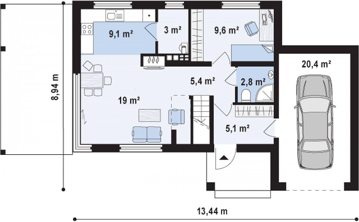 Первый этаж 54,9(75,3м²) дома Zx63