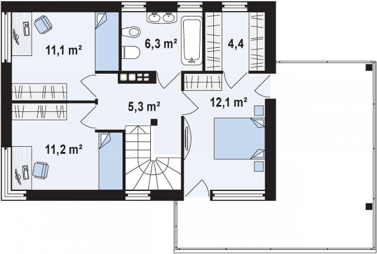 Второй этаж 50,5м² дома Zx63