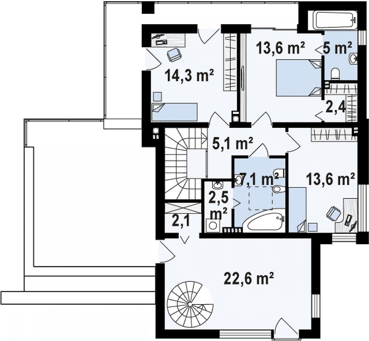 Второй этаж 88,4м² дома Zx64