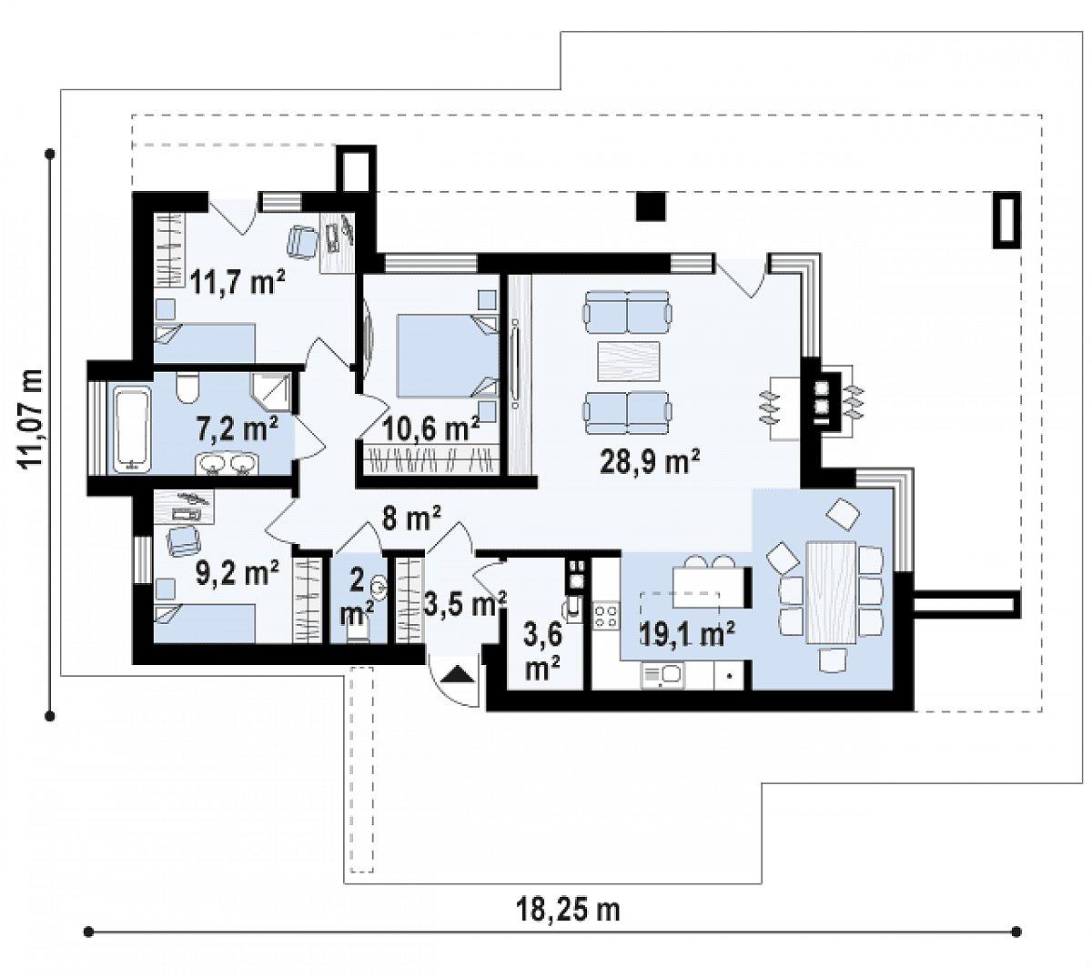 Первый этаж 100,1(103,8м²) дома Zx65