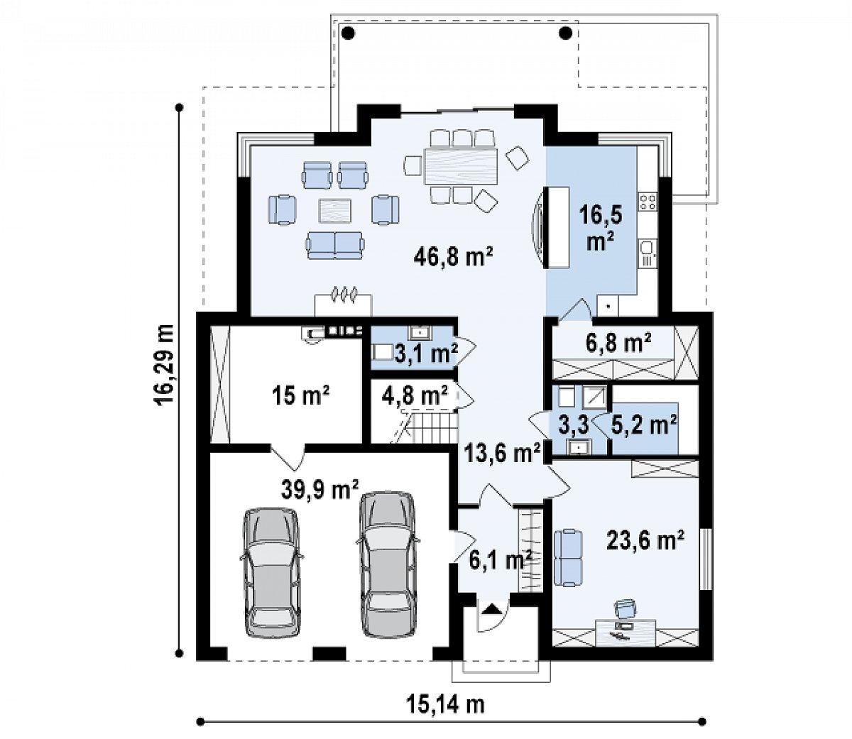 Первый этаж 106,4(161,3м²) дома Zx66