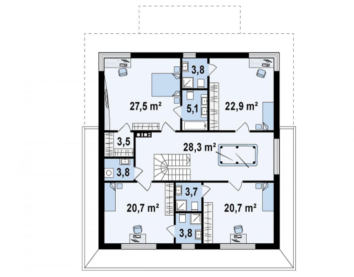 Второй этаж 143,9м² дома Zx66