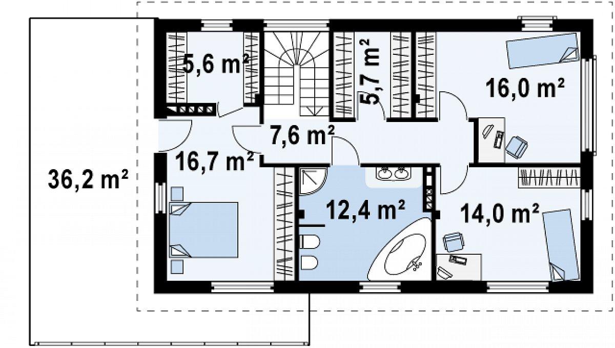 Второй этаж 78,0м² дома Zx6