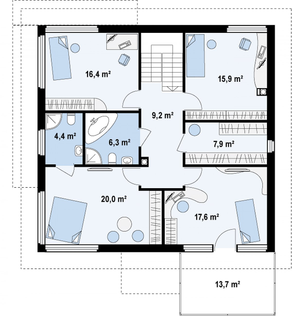 Второй этаж 97,7м² дома Zx7