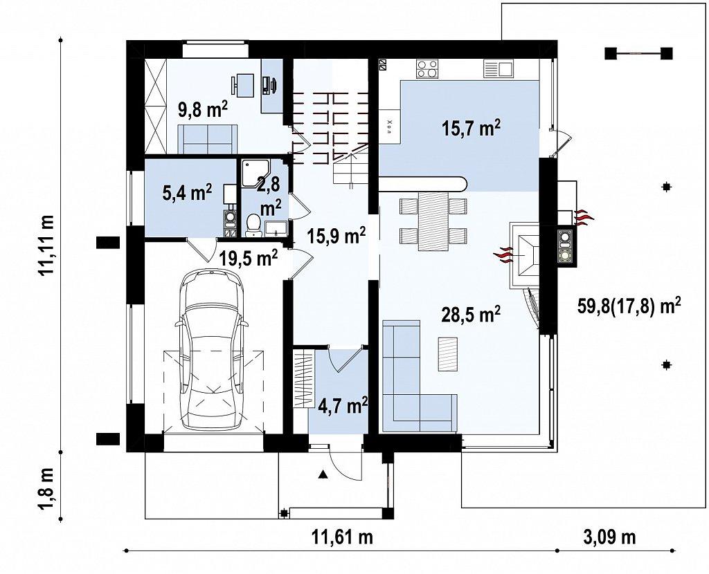 Первый этаж 120,0 м² дома Zx2