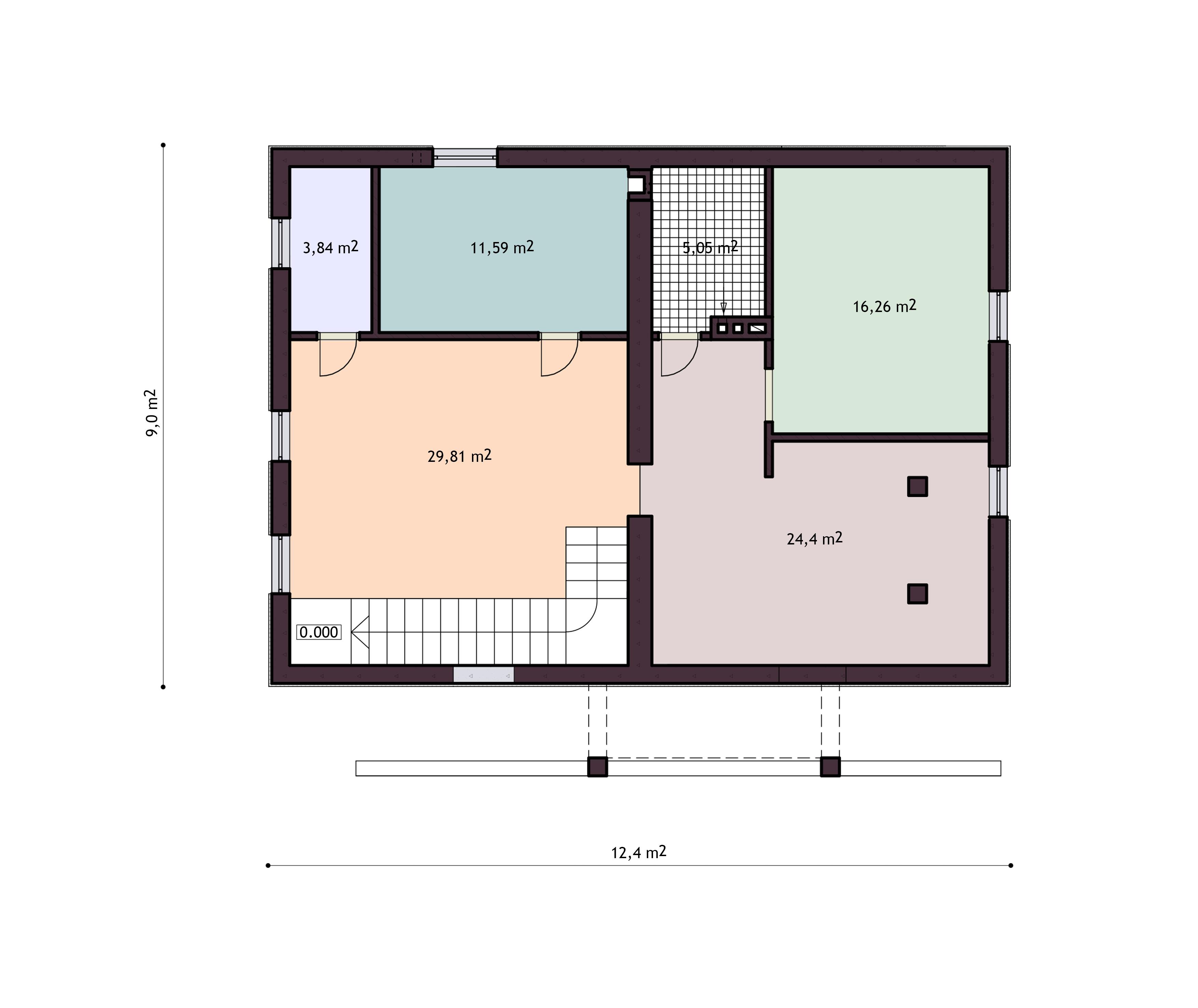 план  цокольного этажа дома 3 house