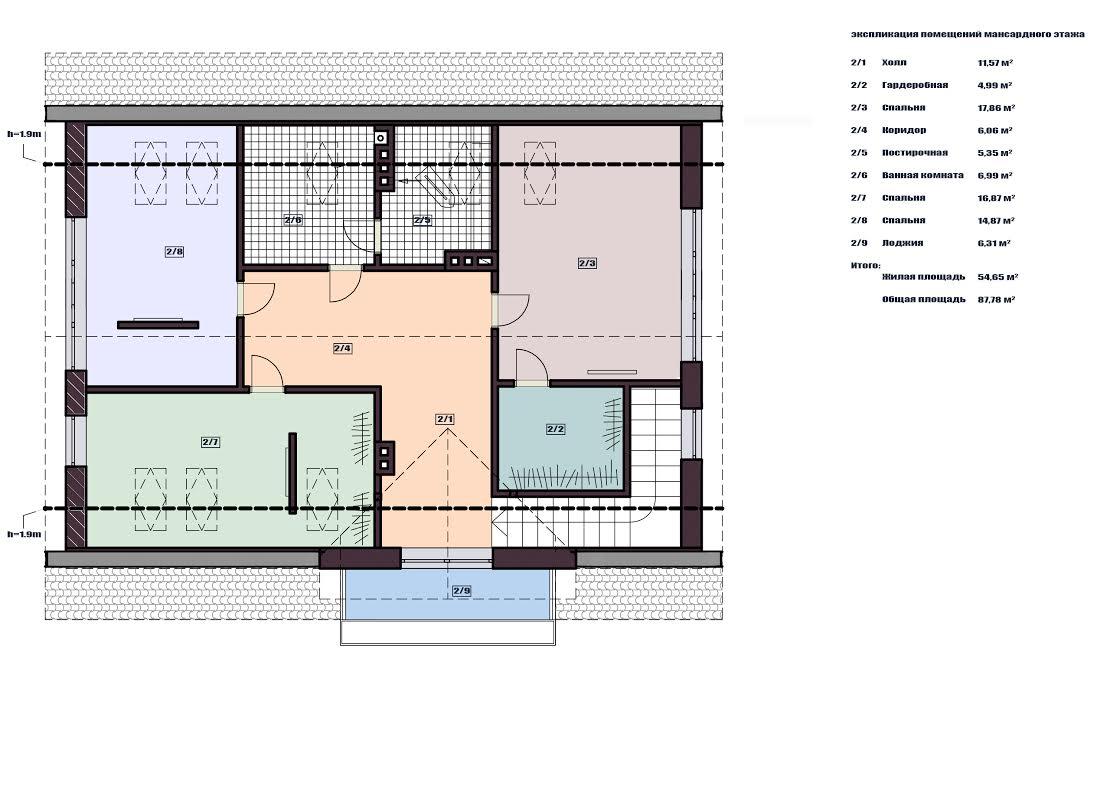 план мансардного этажа дома 3 house