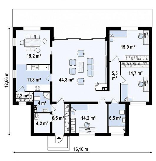Первый этаж 145,0 м² дома Zx111