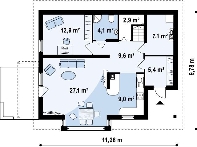 Первый этаж 78,1 м² дома Z128 dk