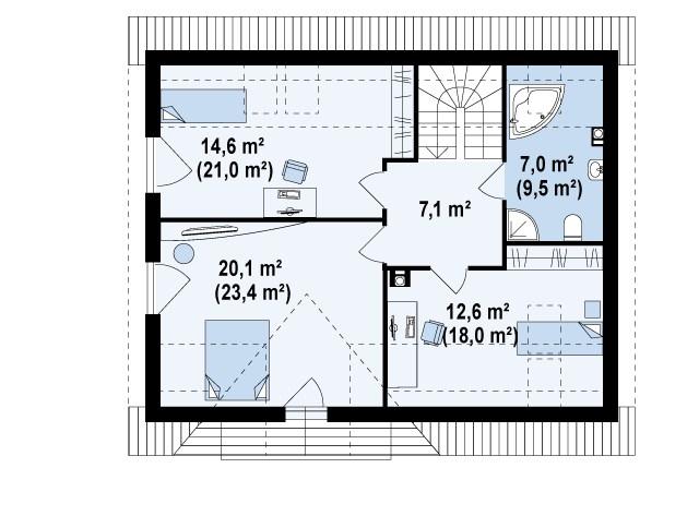 Второй этаж 61,4(79,0м²) дома Z128 dk