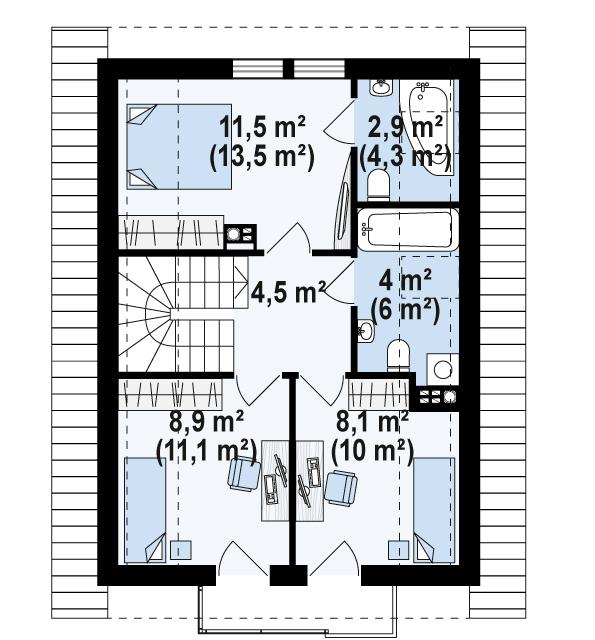 Второй этаж 38,0(49,5м²) дома Z177 dk