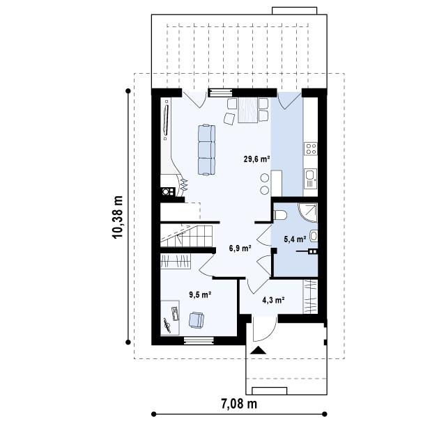 Первый этаж 55,6м² дома Z38 dk