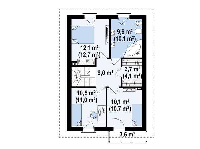 Второй этаж 51,9(54,6м²) дома Z38 dk