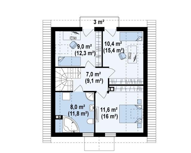 Второй этаж 45,9(64,6м²) дома Z99 dk