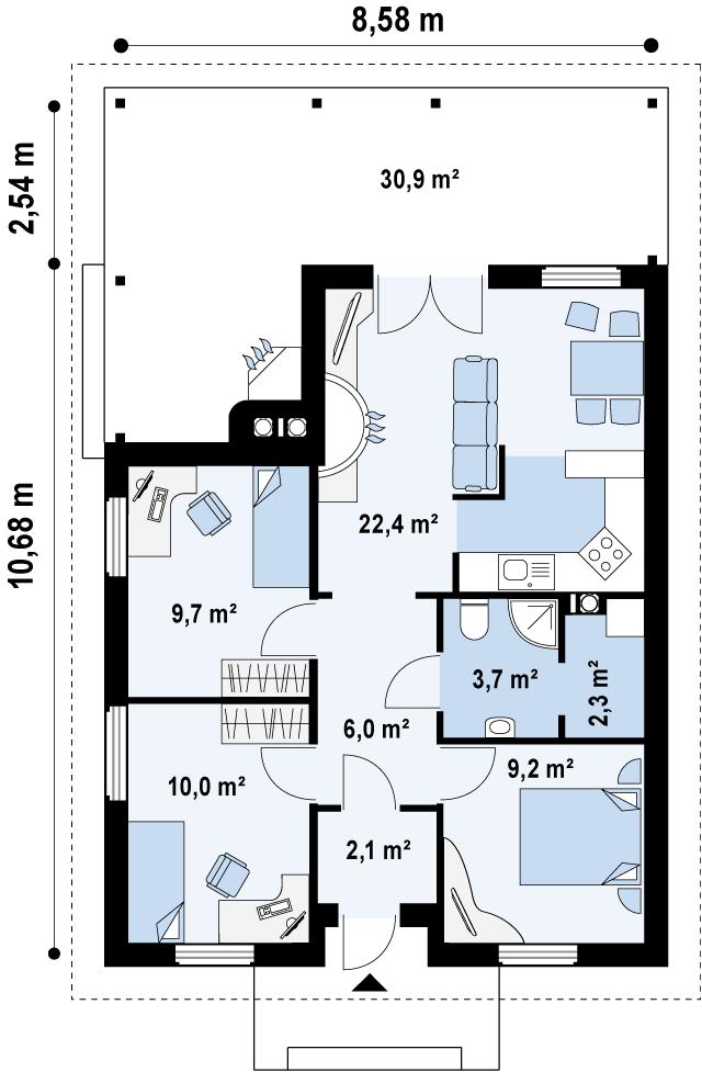 Первый этаж 65,4 м² дома Z16 dk